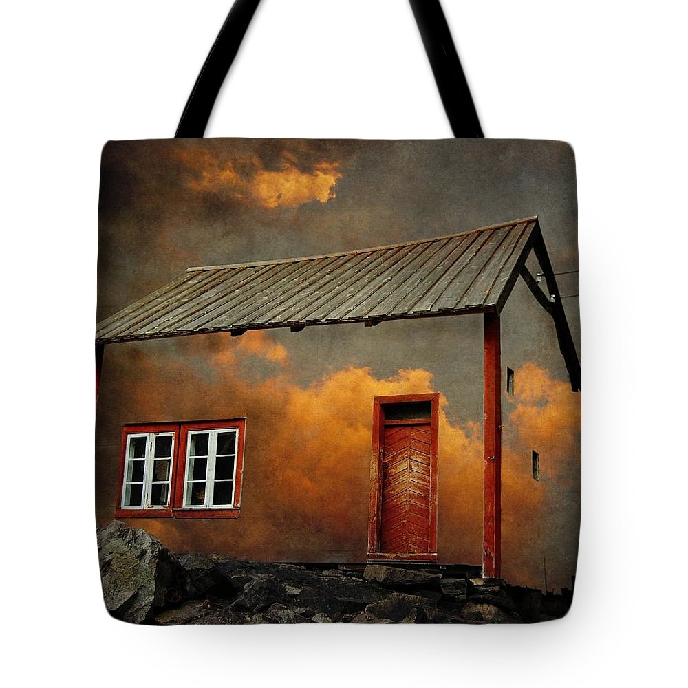 Surrealism Tote Bag featuring the photograph House In The Clouds by Sonya Kanelstrand