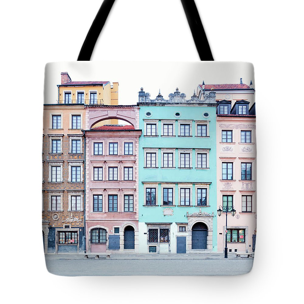 Apartment Tote Bag featuring the photograph Houses On Old Town Market Place by Jorg Greuel