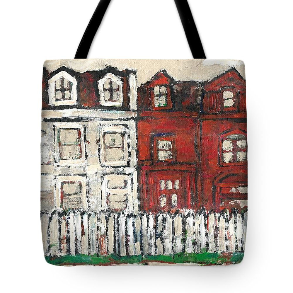 House Tote Bag featuring the painting Houses On William Street by David Dossett