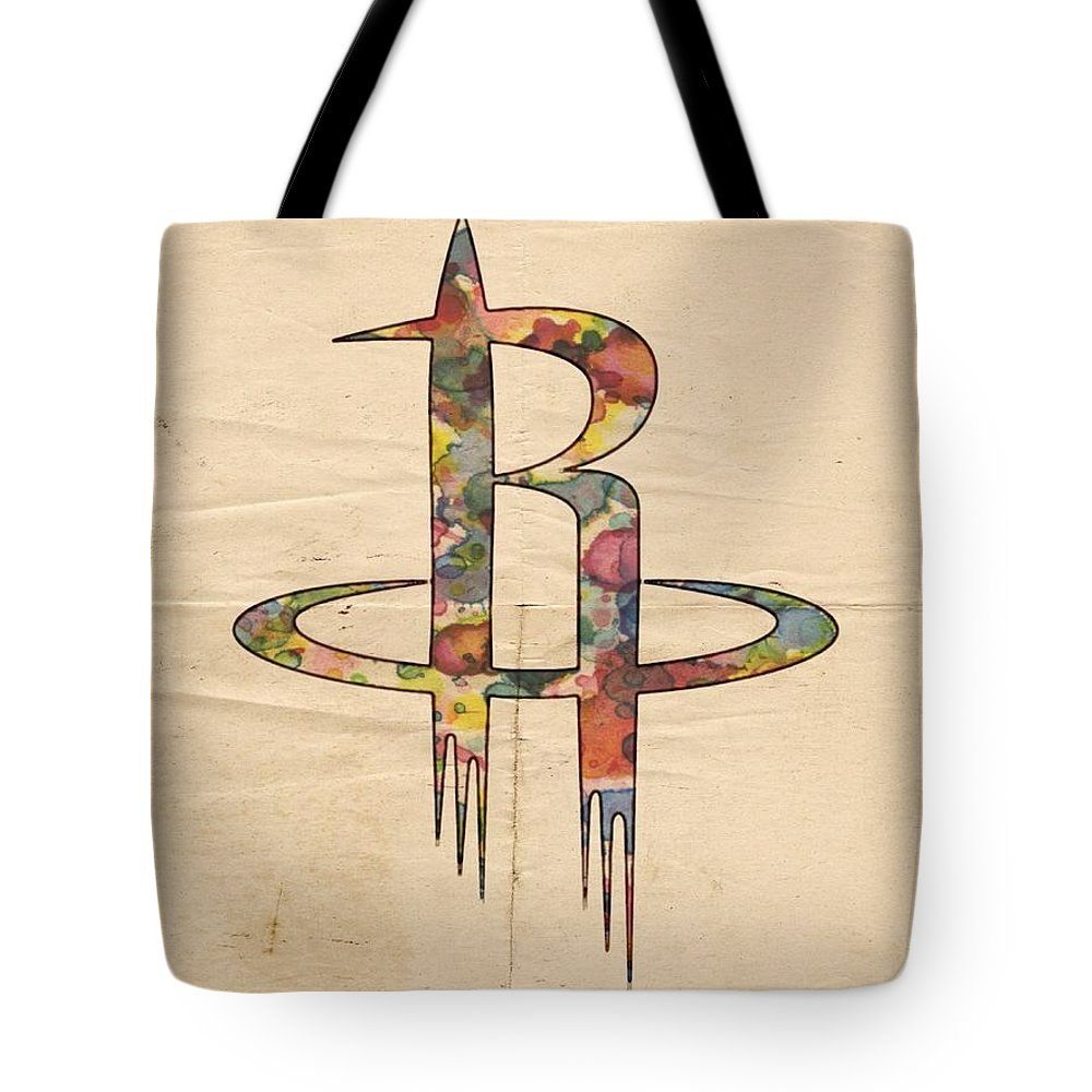 Houston Rockets Tote Bag featuring the painting Houston Rockets Logo Art by Florian Rodarte
