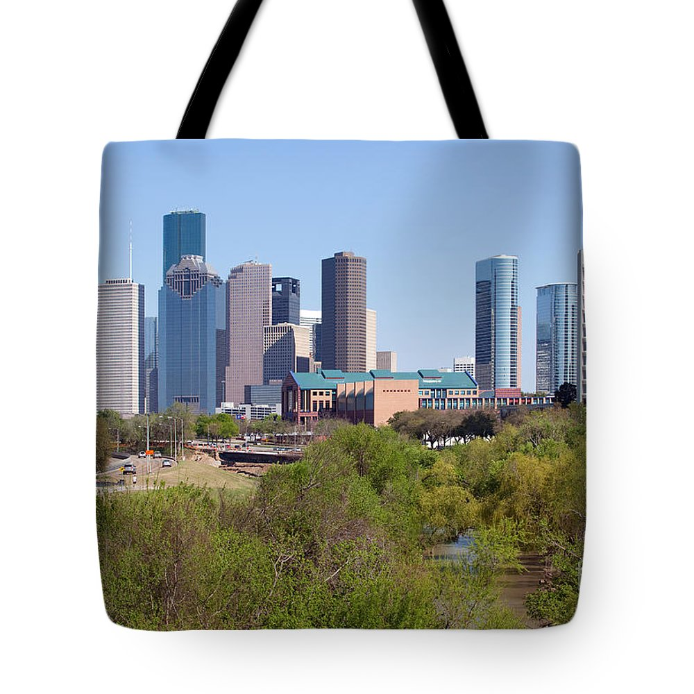 Houston Tote Bag featuring the photograph Houston Skyline And Buffalo Bayou by Bill Cobb