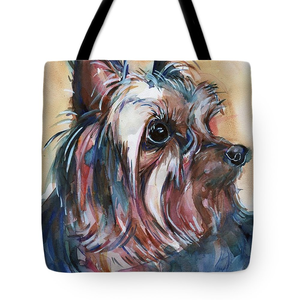 Yorkshire Terrier Painting Tote Bag featuring the painting How Much Longer by Maria's Watercolor