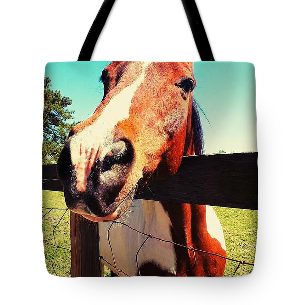 Horse Tote Bag featuring the photograph Howdy Do by Heather Taylor