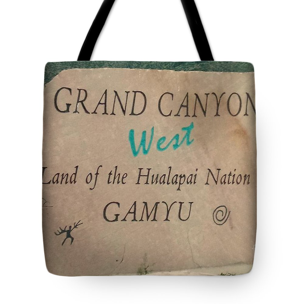 Hualapai Tote Bag featuring the photograph Hualapai Nation Signpost by Lisa Byrne
