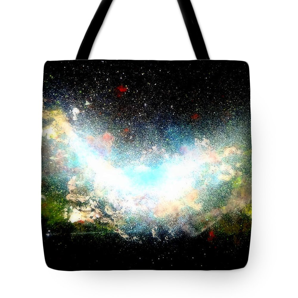 Hubble Tote Bag featuring the painting Hubble Birth Of A Galaxy by Katy Hawk