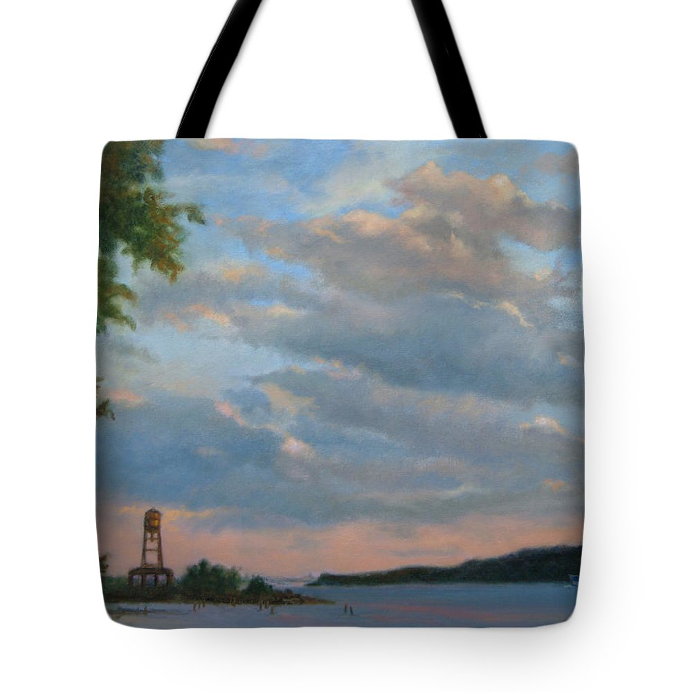 Hudson River Tote Bag featuring the painting Hudson River Skyscape by Phyllis Tarlow