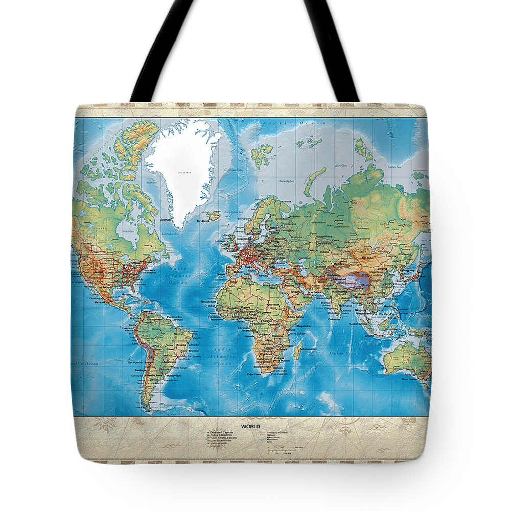 Physical Geography Digital Art Tote Bags