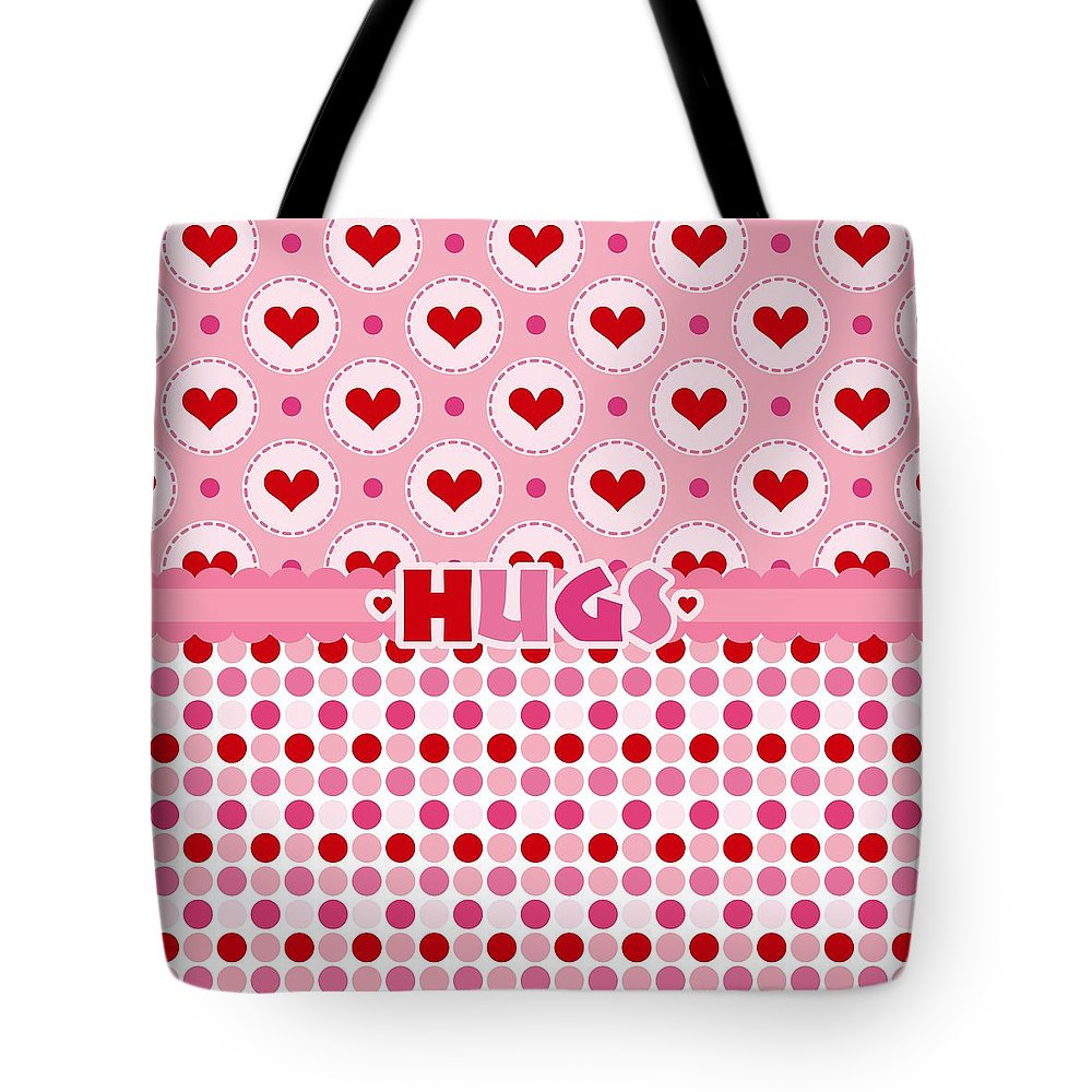 Hearts Tote Bag featuring the digital art Hugs by Debra Miller