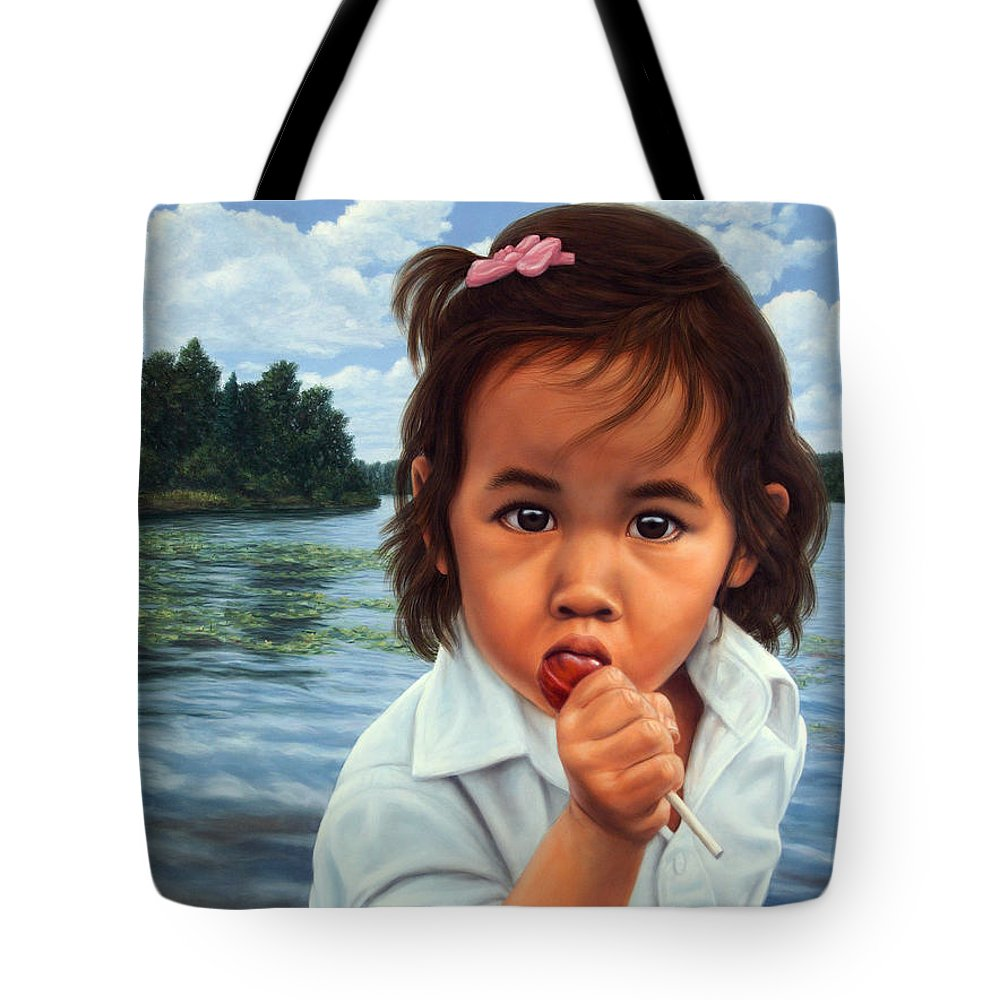 Girl Tote Bag featuring the painting Human-nature 48 by James W Johnson