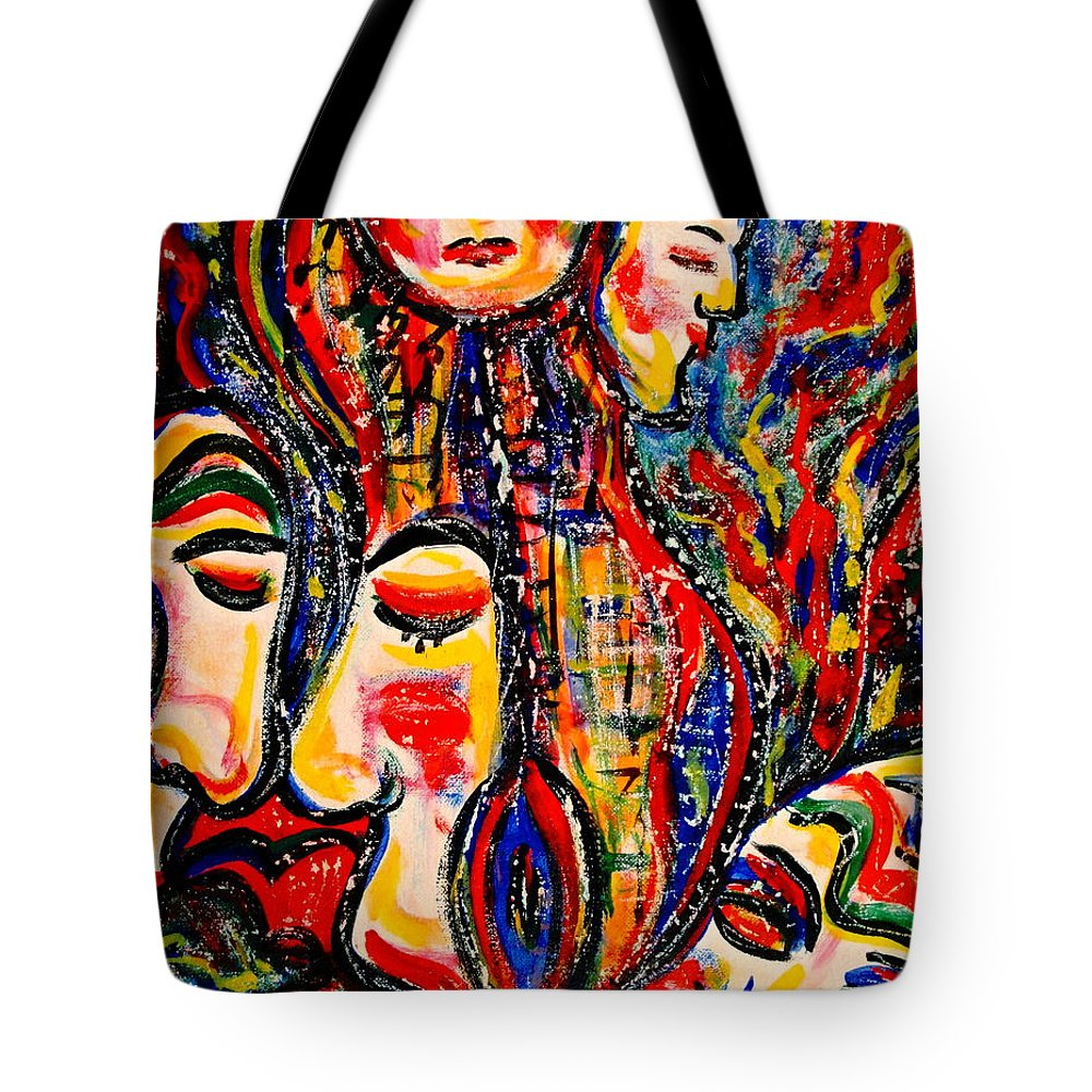 Abstract Tote Bag featuring the painting Human Species by Natalie Holland