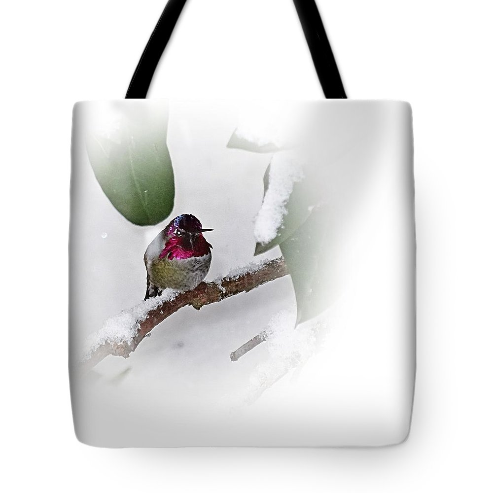 Humming Bird Tote Bag featuring the photograph Humming Bird And Snow 2 by Nick Kloepping