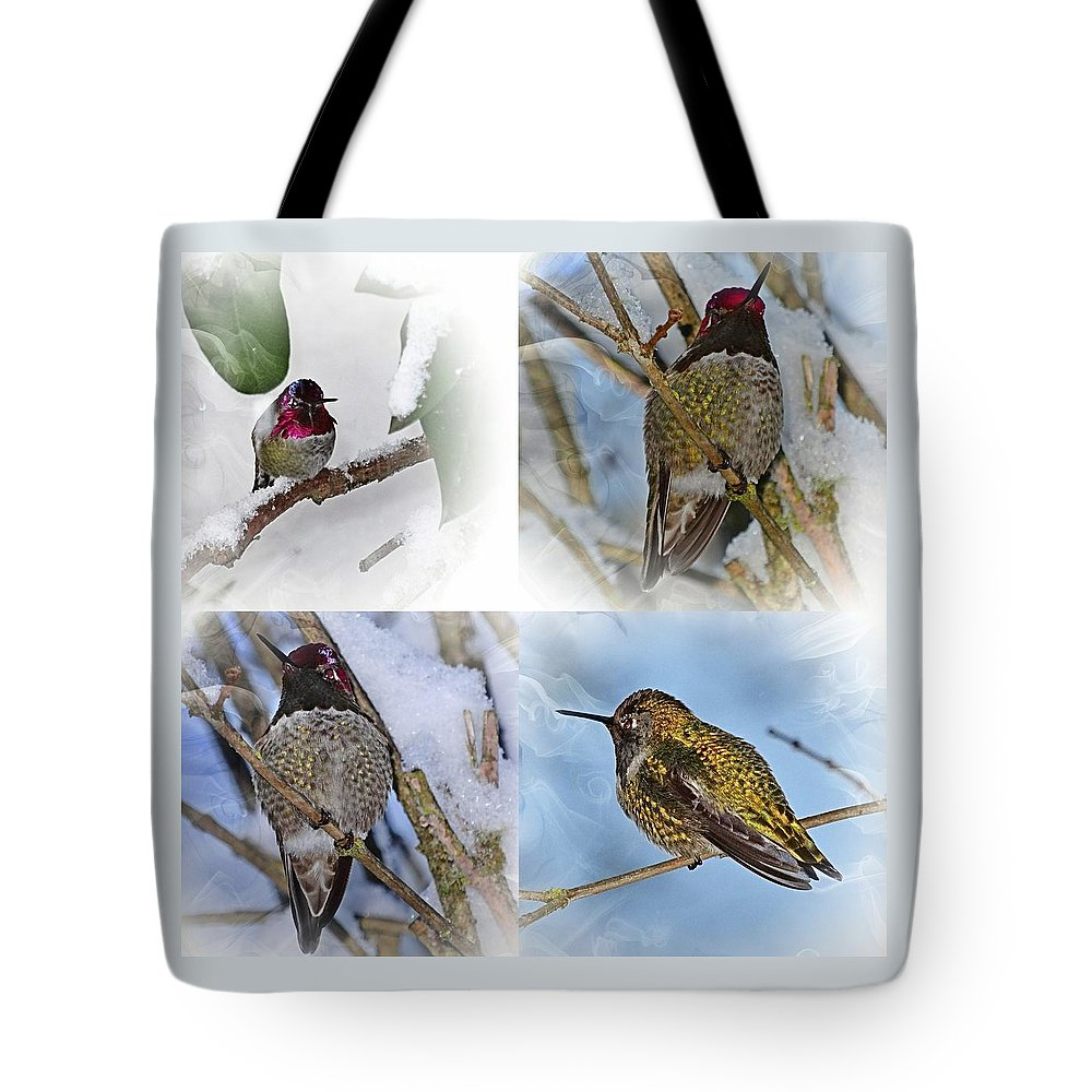 Humming Bird Tote Bag featuring the photograph Humming Bird And Snow 4 Pack by Nick Kloepping