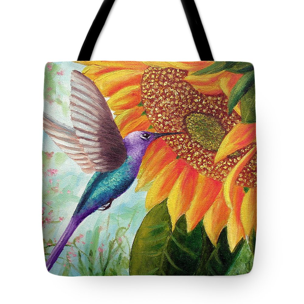 Hummingbird Tote Bag featuring the painting Humming For Nectar by David G Paul