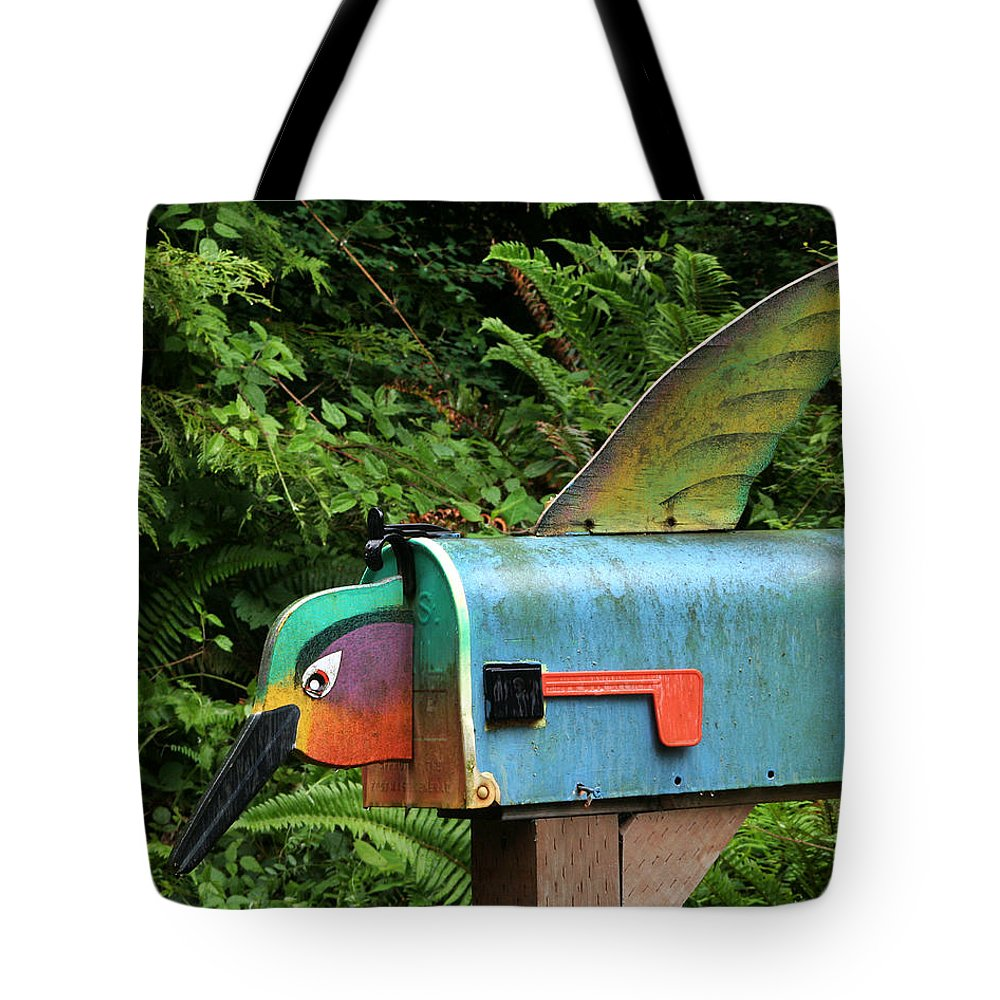 Hummingbird Tote Bag featuring the photograph Hummingbird Mailbox by Art Block Collections
