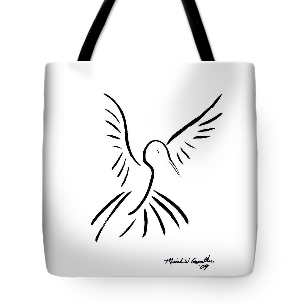 Bird Tote Bag featuring the drawing Hummingbird by Micah Guenther