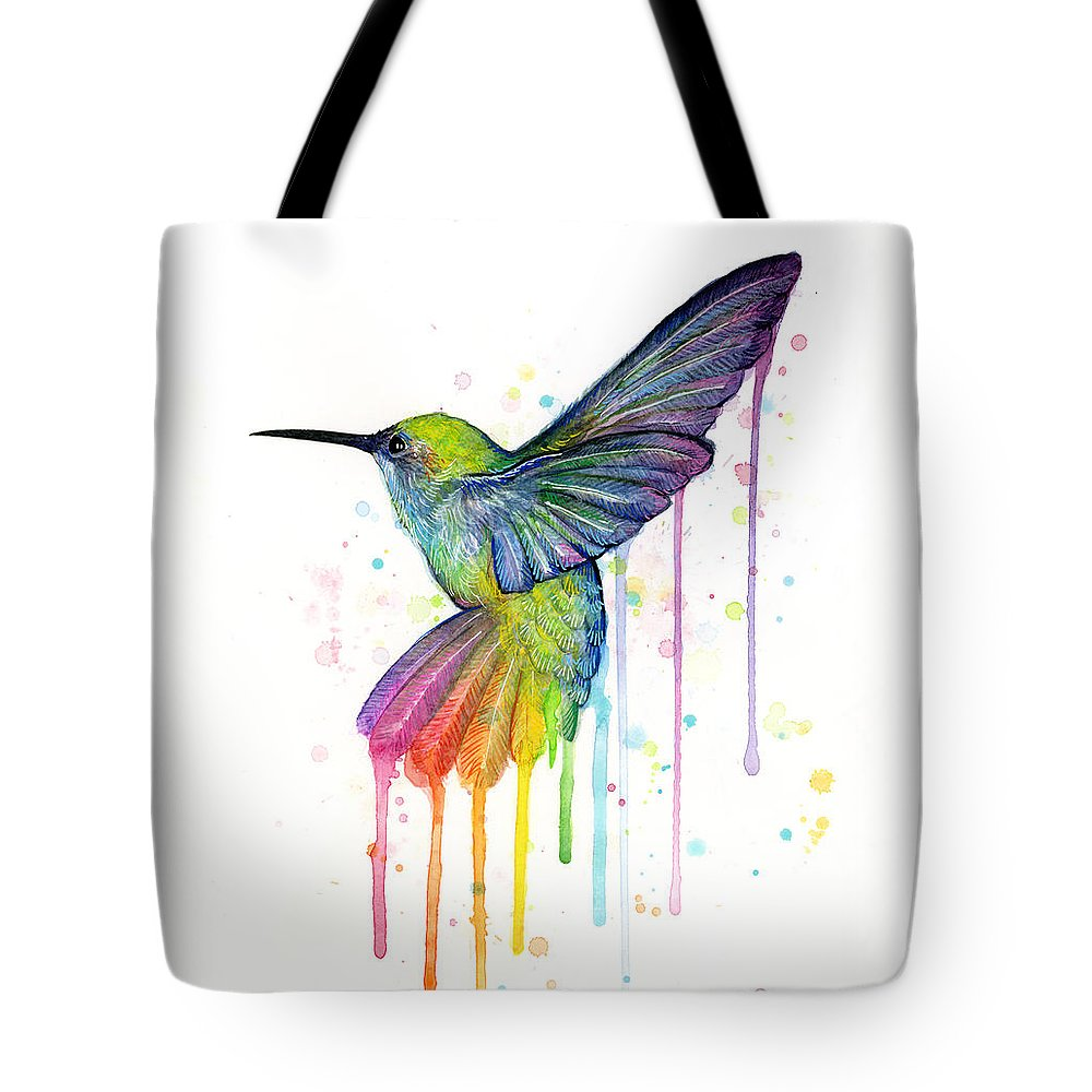 Hummingbird Tote Bag featuring the painting Hummingbird of Watercolor Rainbow by Olga Shvartsur