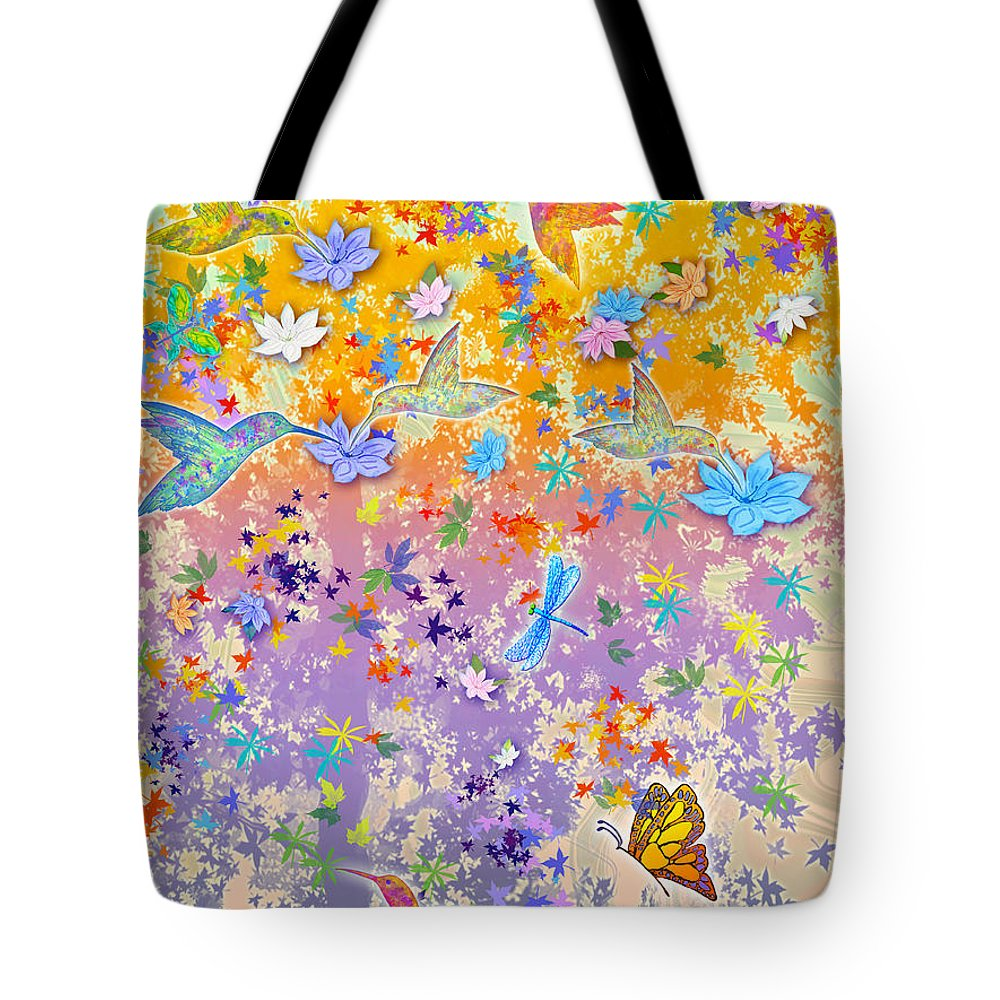 Hummingbirds Tote Bag featuring the painting Hummingbird Spring by Teresa Ascone