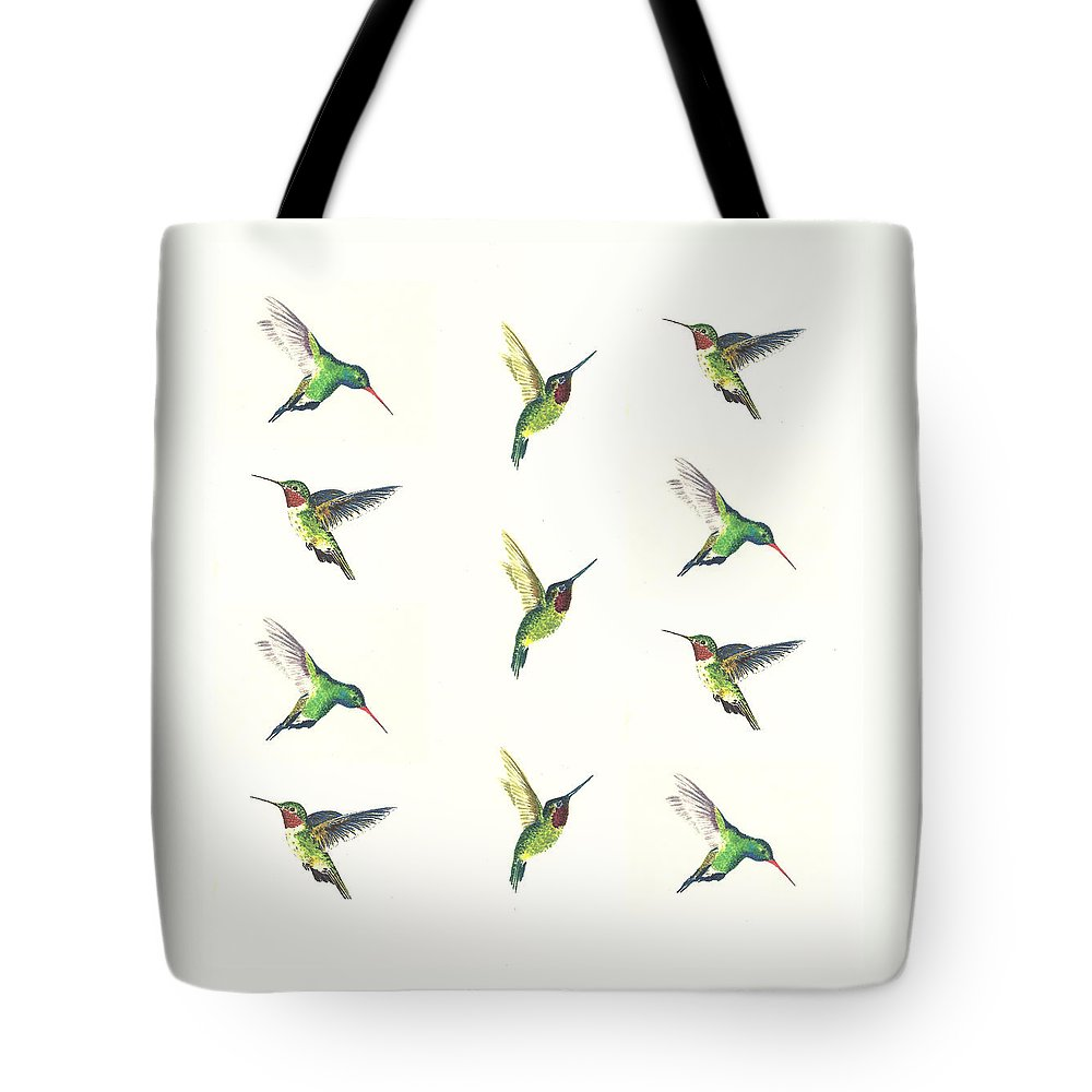 Animals Tote Bag featuring the painting Hummingbirds Number 2 by Michael Vigliotti