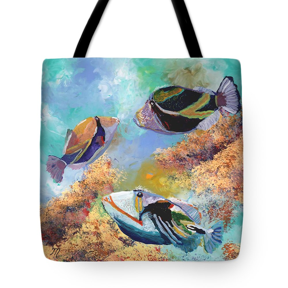 Hawaiian Fish Tote Bag featuring the painting Humuhumu 3 by Marionette Taboniar