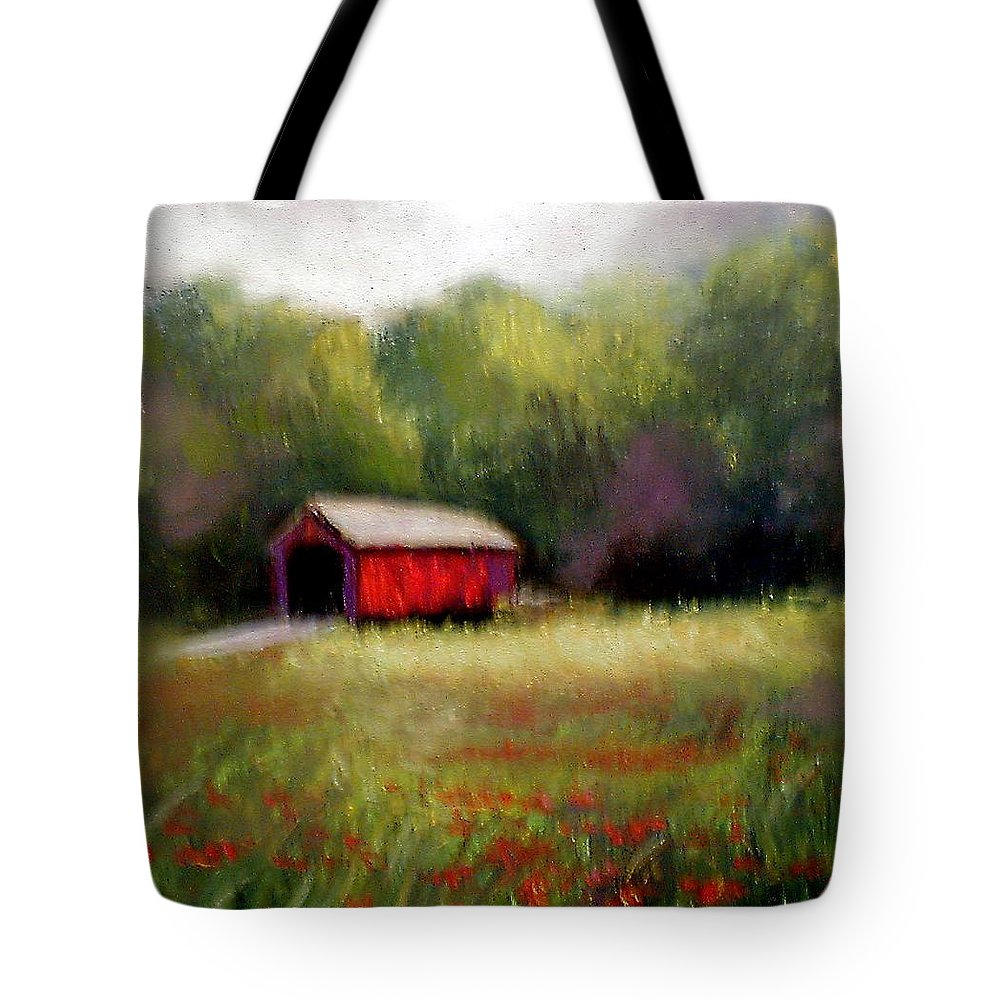 Covered Bridge Tote Bag featuring the painting Hune Bridge by Gail Kirtz