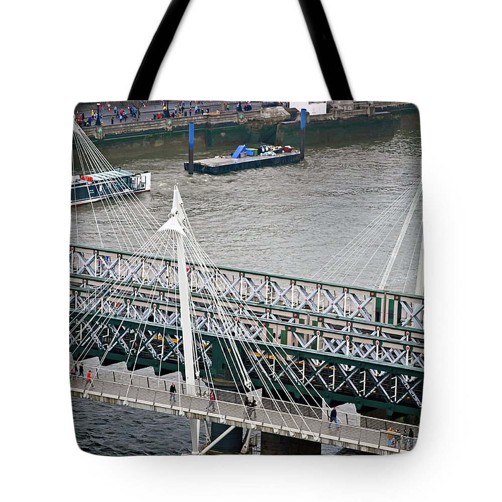 Britain Tote Bag featuring the photograph Hungerford Bridge by Christi Kraft