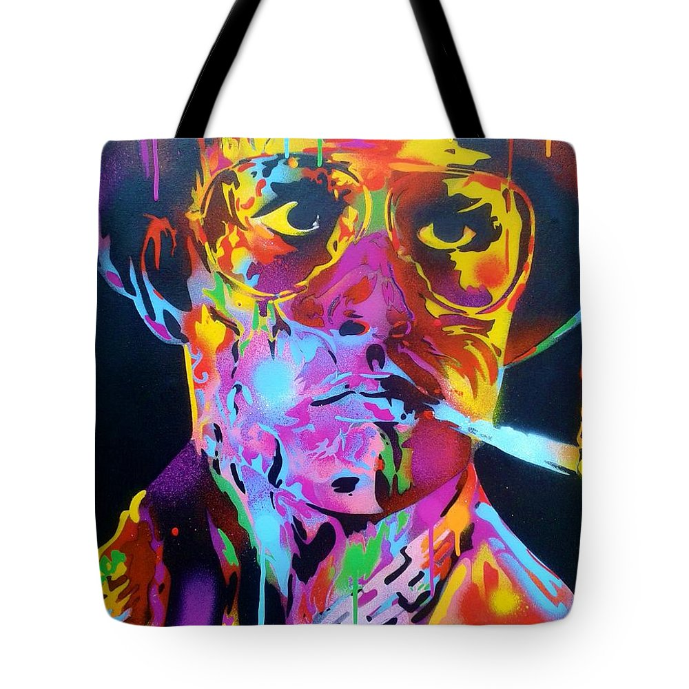 Hunter S Thompson Tote Bag featuring the painting Hunter S Thompson by Leon Keay