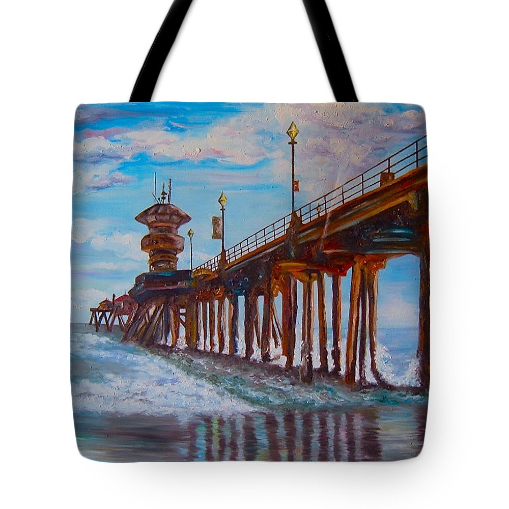Tourist Tote Bag featuring the painting Huntington Beach Pier 2 by Carol Tsiatsios