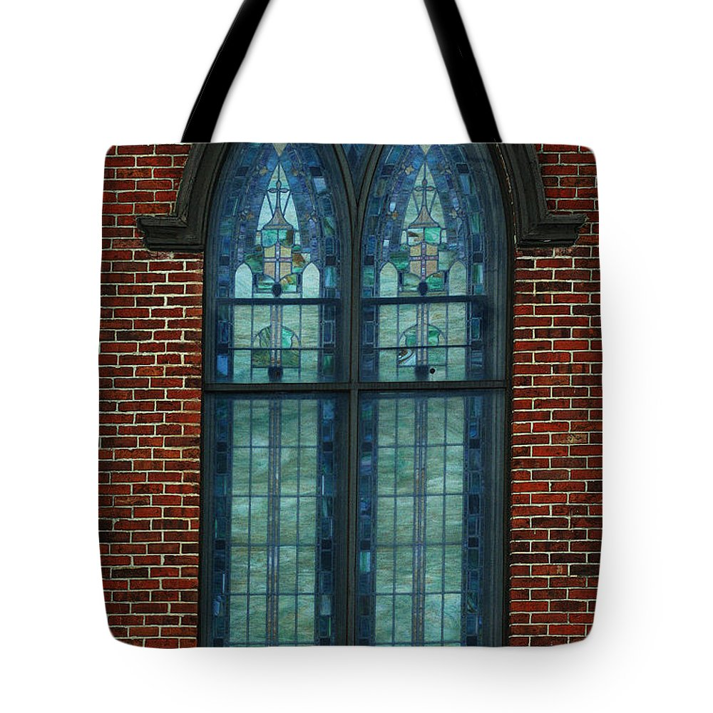 Religious Art Tote Bag featuring the photograph Stained Glass Arch Window by Lesa Fine