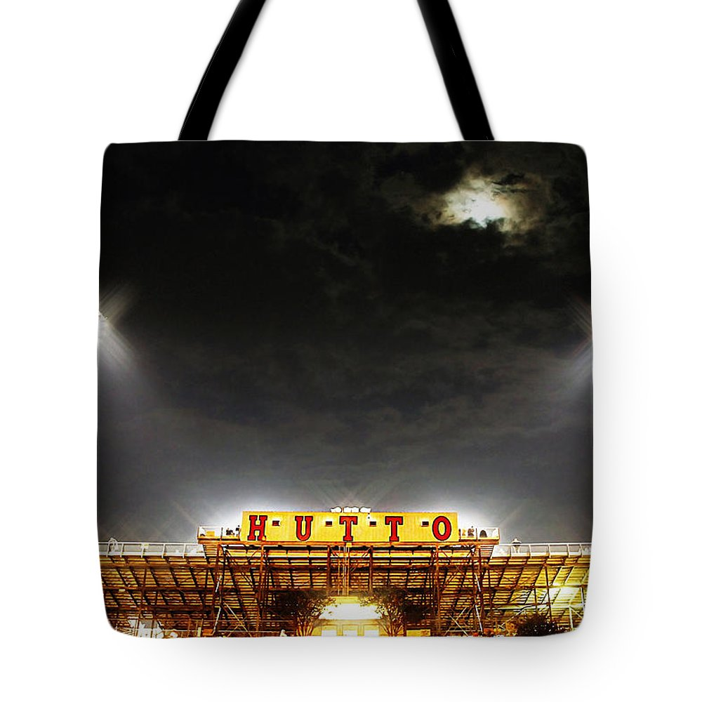 Hutto High School Tote Bag featuring the photograph Hutto Hippo Stadium by Trish Mistric