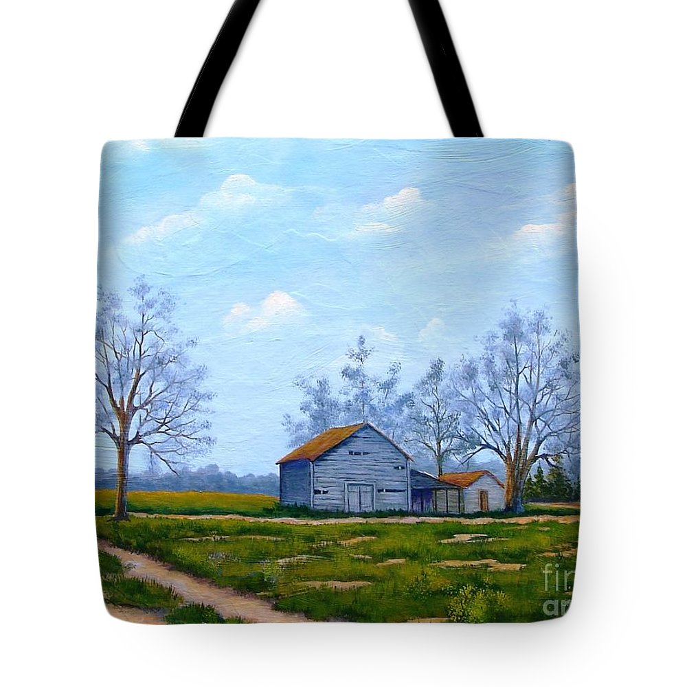 Farm Tote Bag featuring the painting Hwy 302 Farm by Jerry Walker
