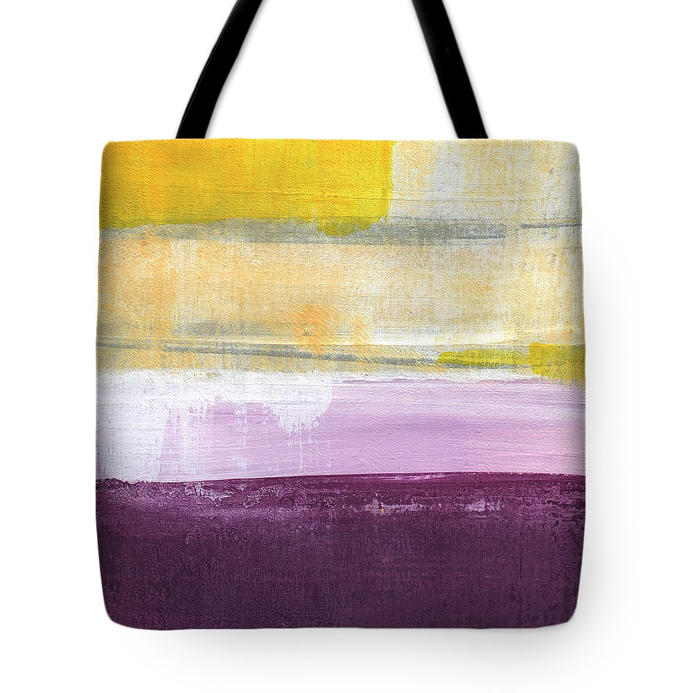 Purple And Yellow Abstract Painting Tote Bag featuring the painting Hydrangea Two - abstract painting by Linda Woods