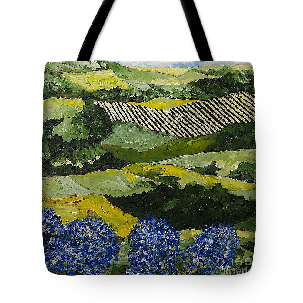 Landscape Tote Bag featuring the painting Hydrangea Valley by Allan P Friedlander
