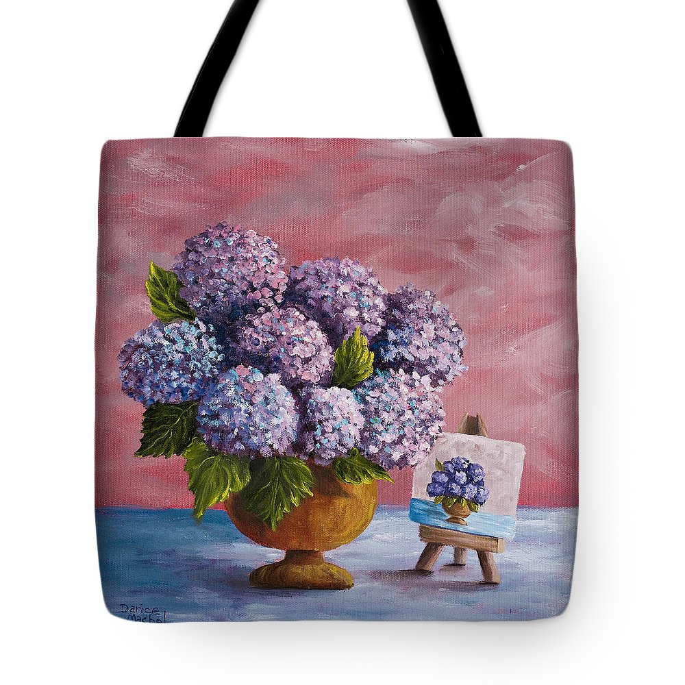 Hydrangea Tote Bag featuring the painting Hydrangeas From My Garden by Darice Machel McGuire