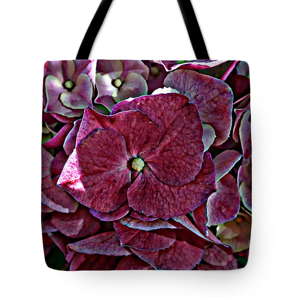 Nature Tote Bag featuring the photograph Hydrangeas In Rich Rose Color by Debbie Portwood