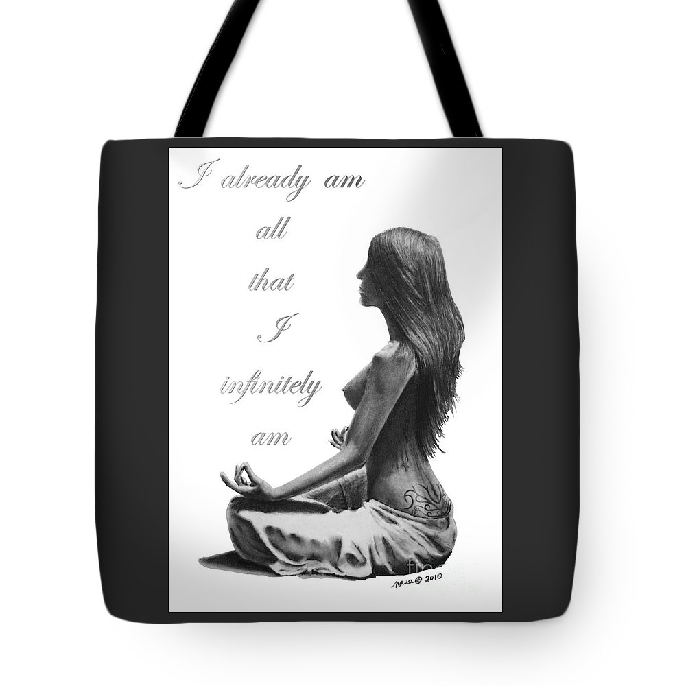 Woman Tote Bag featuring the digital art I Am by Marianne NANA Betts