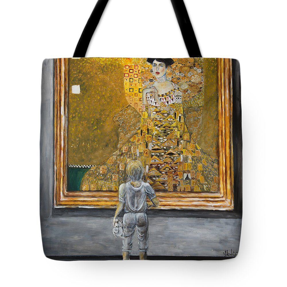 Painting Of Klimt Tote Bag featuring the painting I Dream Of Klimt by Nik Helbig