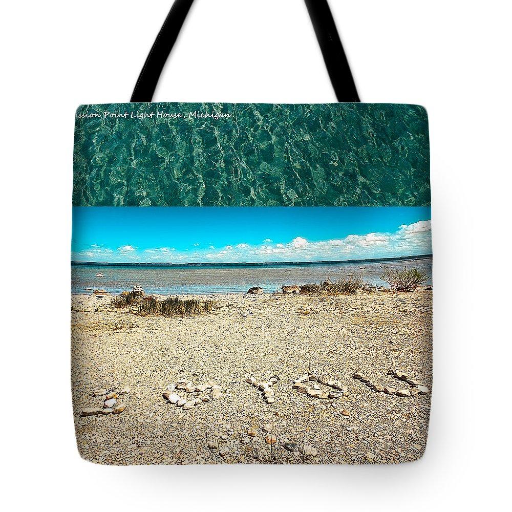 I Heart You Shores Of Lake Michigan Tote Bag featuring the photograph I Heart You Shores Of Lake Michigan by LeeAnn McLaneGoetz McLaneGoetzStudioLLCcom