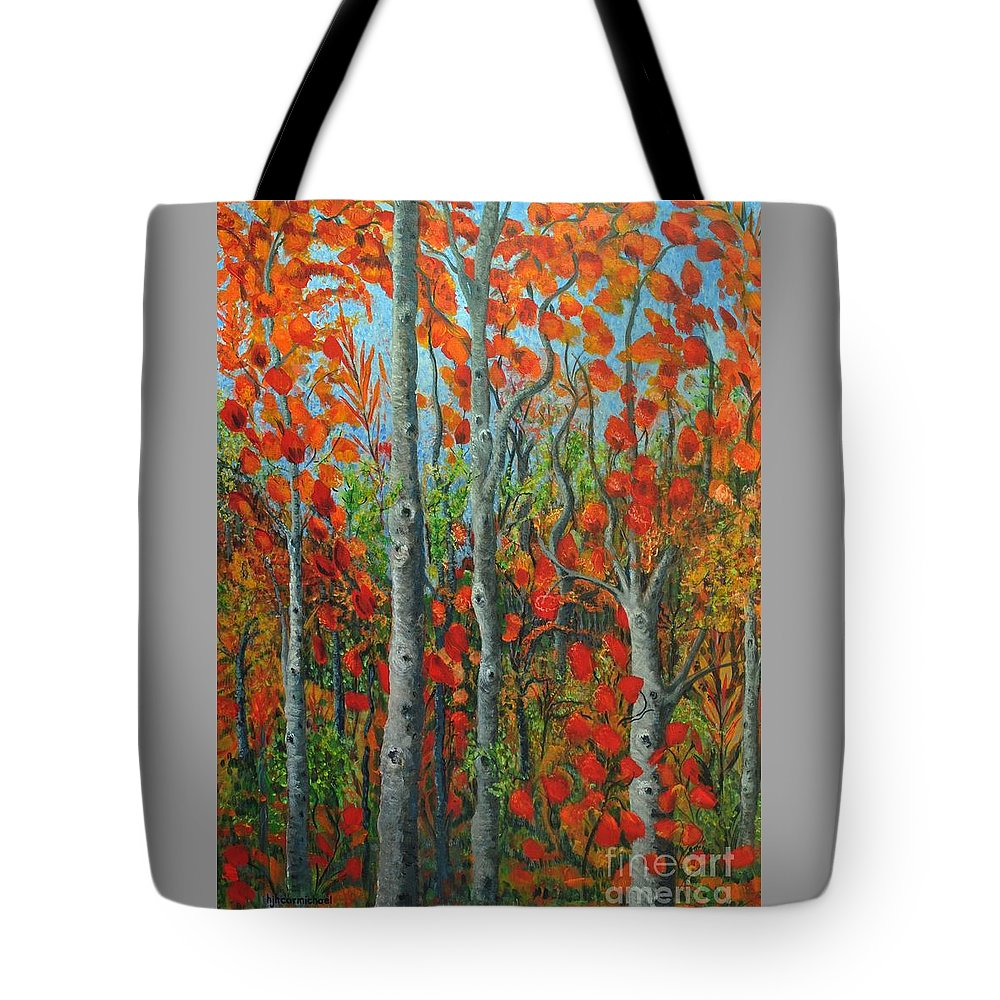 Fall Tote Bag featuring the painting I Love Fall by Holly Carmichael