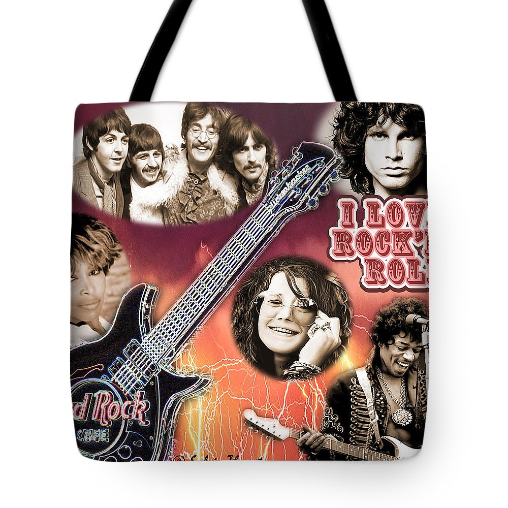 Jimi Hendrix Tote Bag featuring the photograph I Love Rock'N Roll by Sylvia Thornton