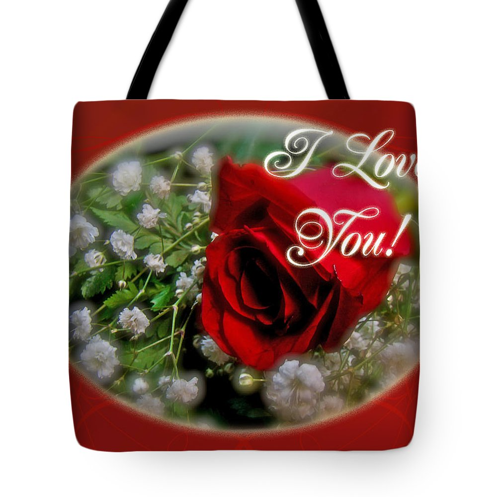 I Love You Greeting Card Red Rose And White Babys Breath Tote Bag