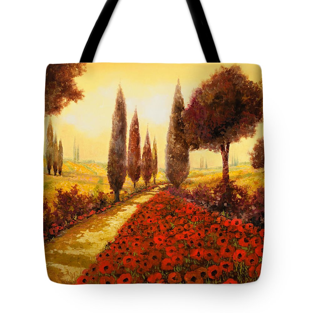 Poppy Fields Tote Bag featuring the painting I Papaveri In Estate by Guido Borelli