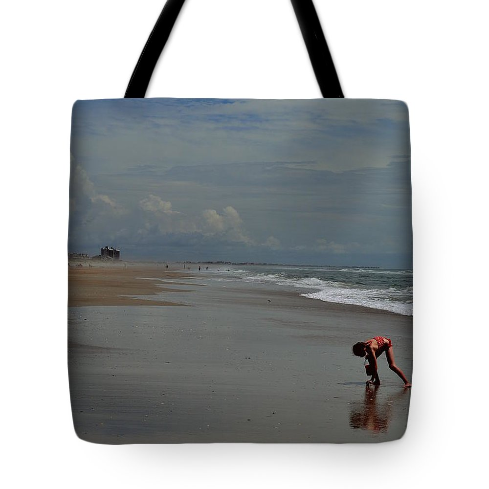 Girl Tote Bag featuring the photograph I Saw A Sea Shell by Amy Lucid