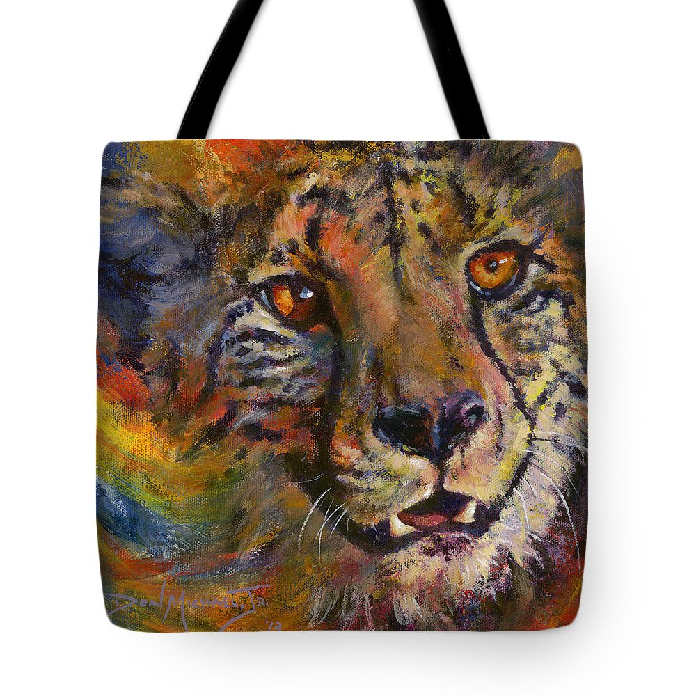 Cheetah Tote Bag featuring the painting I Spy by Don Michael Jr