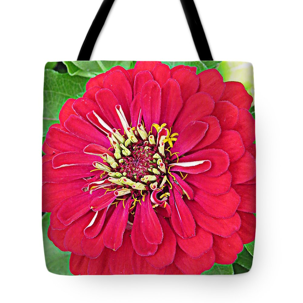 Flower Tote Bag featuring the photograph I Spy Red by Ella Kaye Dickey