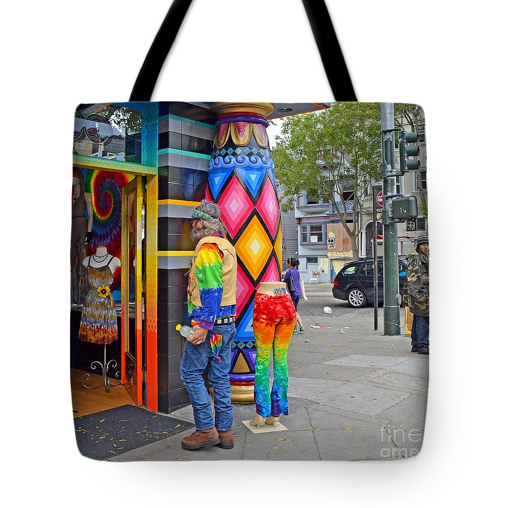 I Think He Found The Store He Was Looking For Tote Bag featuring the photograph I Think He Found The Store He Was Looking For by Jim Fitzpatrick