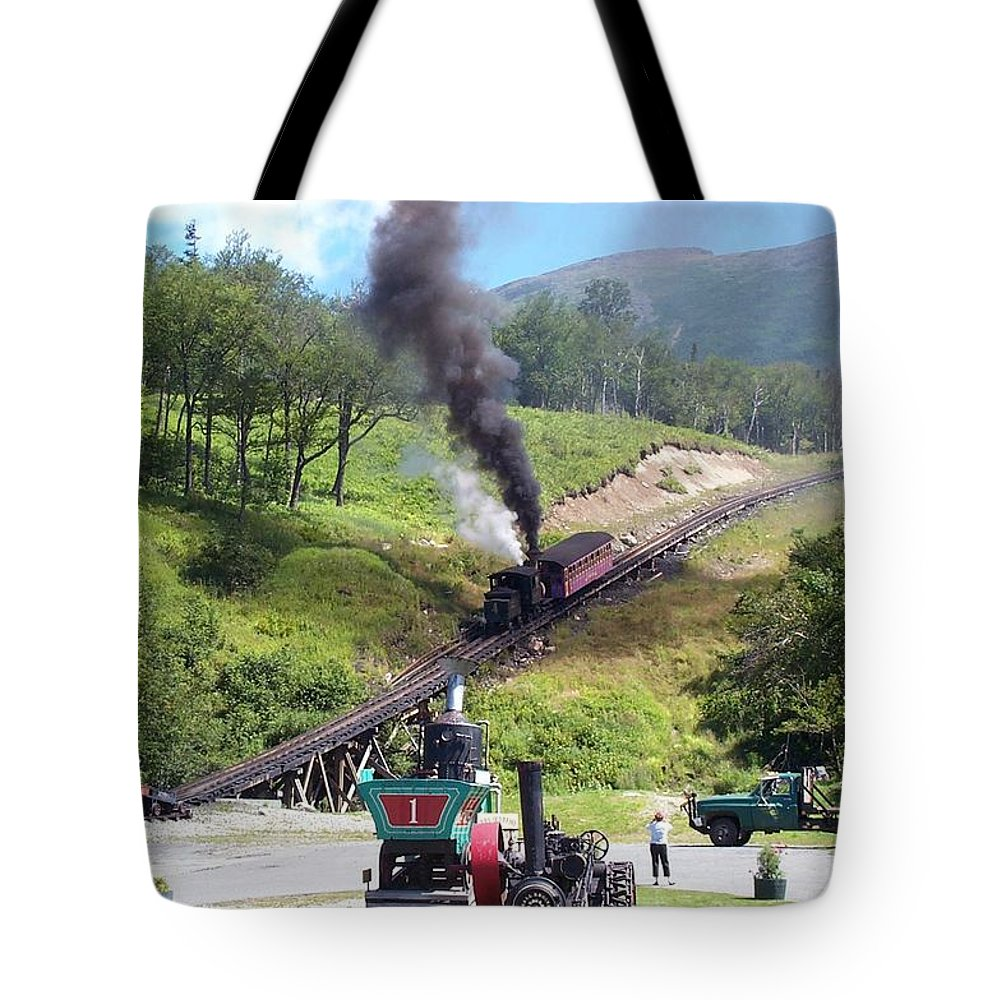 Cog Railroad Tote Bag featuring the photograph I Think I Can by Barbara McDevitt
