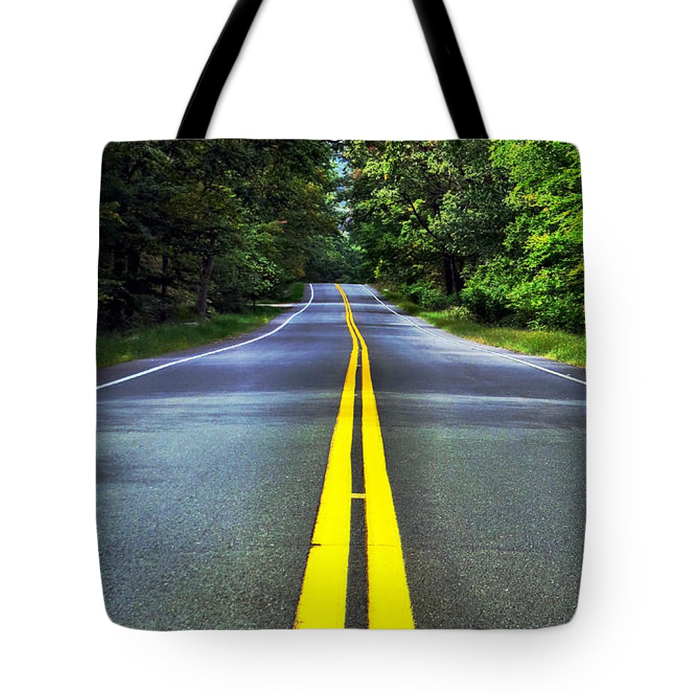 Sky Tote Bag featuring the photograph I Walk The Line by Art Dingo