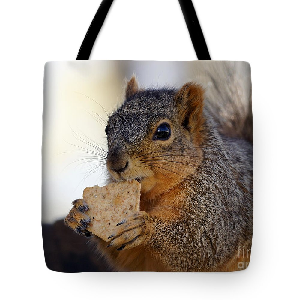 Squirrel Tote Bag featuring the photograph I Would Like A Wheat Thin...please by Lori Tordsen