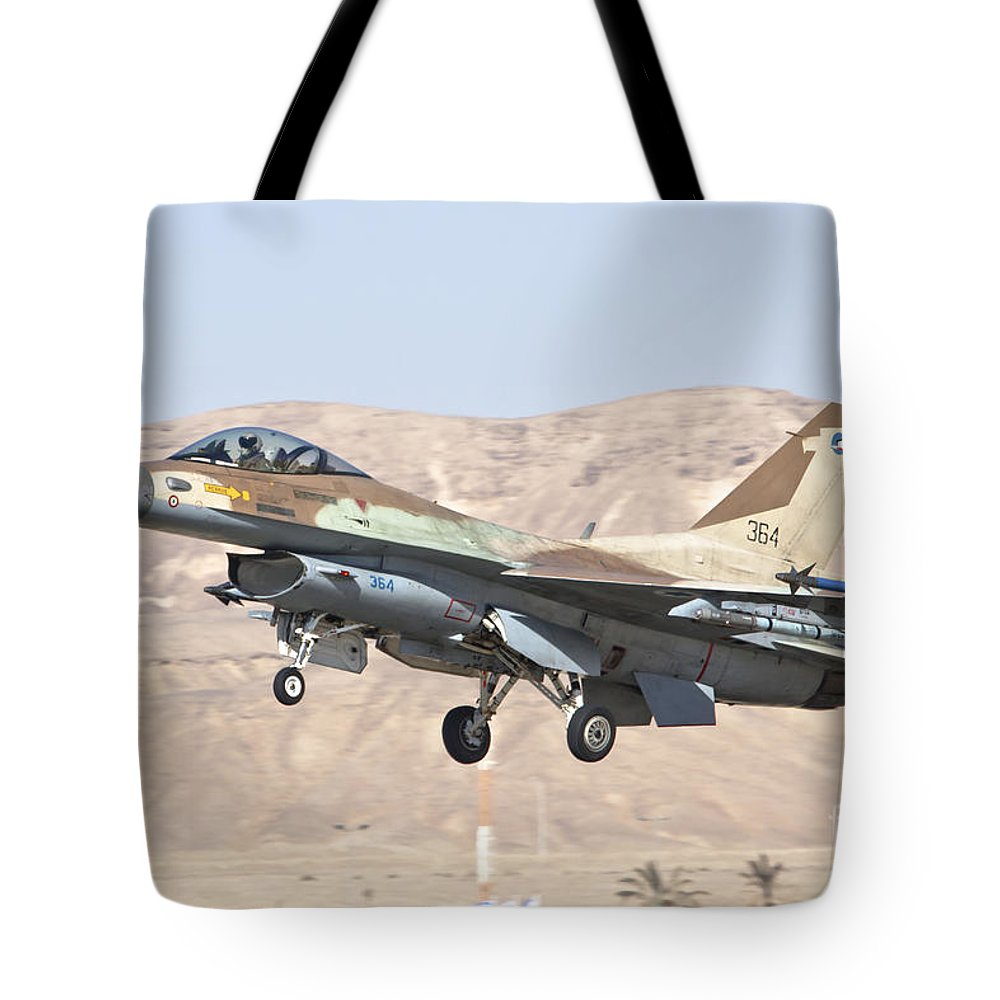 Israel Tote Bag featuring the photograph Iaf F-16c Jet Fighter by Nir Ben-Yosef