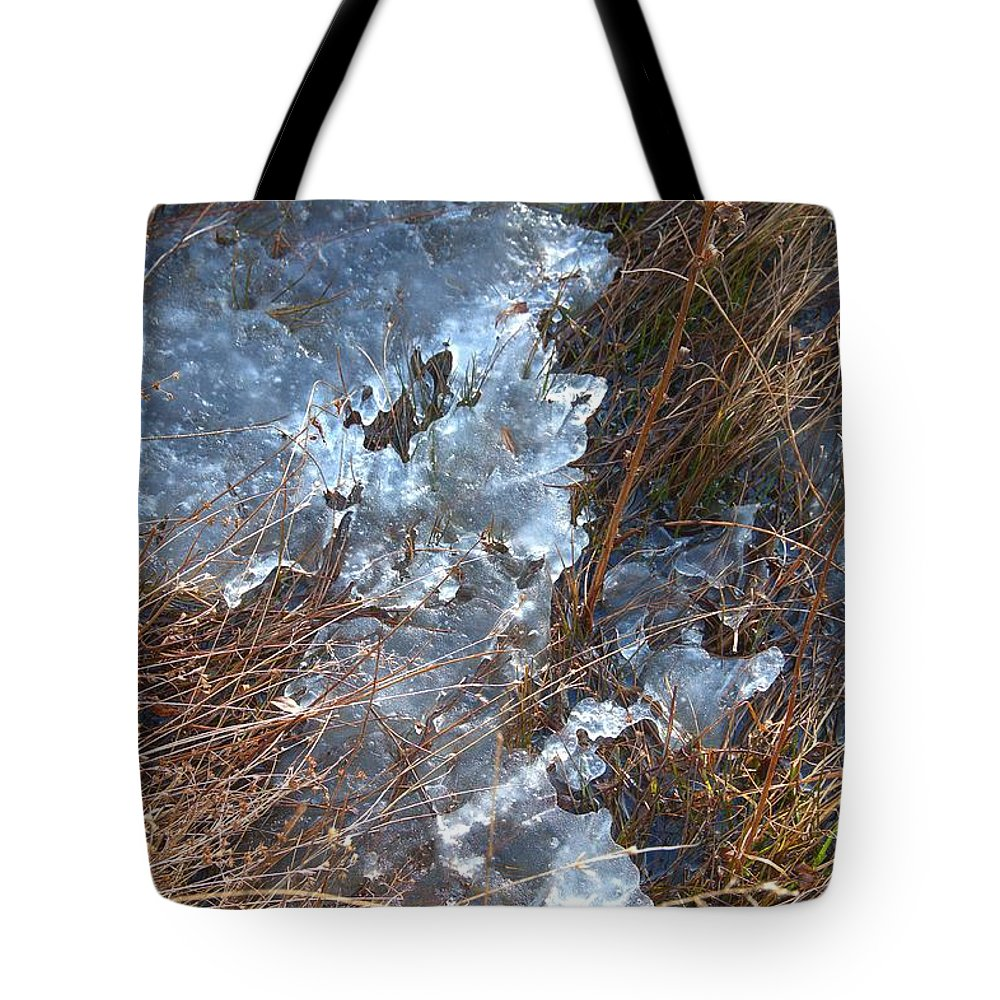 Ice Tote Bag featuring the photograph Ice Abstract by Valerie Kirkwood